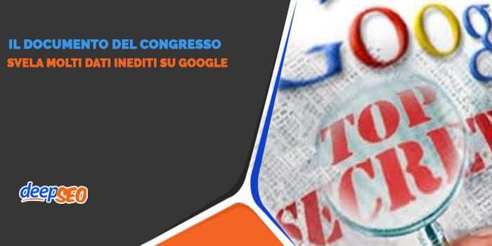 Il documento che svela i dati su Google
