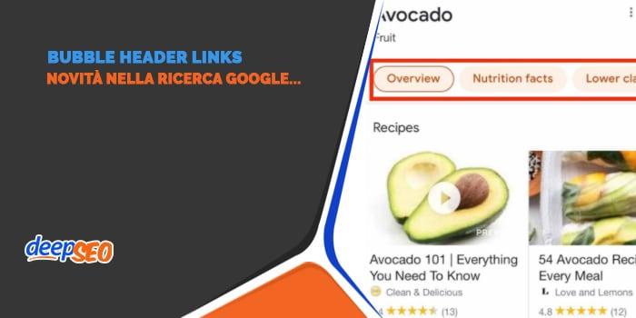 Bubble Header Links: novità nella ricerca Google