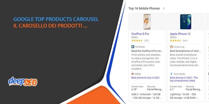 Google top products carousel: il carosello dei prodotti